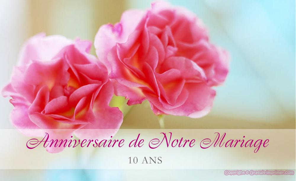 Carte anniversaire de mariage 10 ans a imprimer gratuit