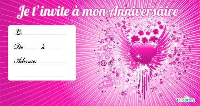 Carte d'invitation anniversaire ado fille 11 ans