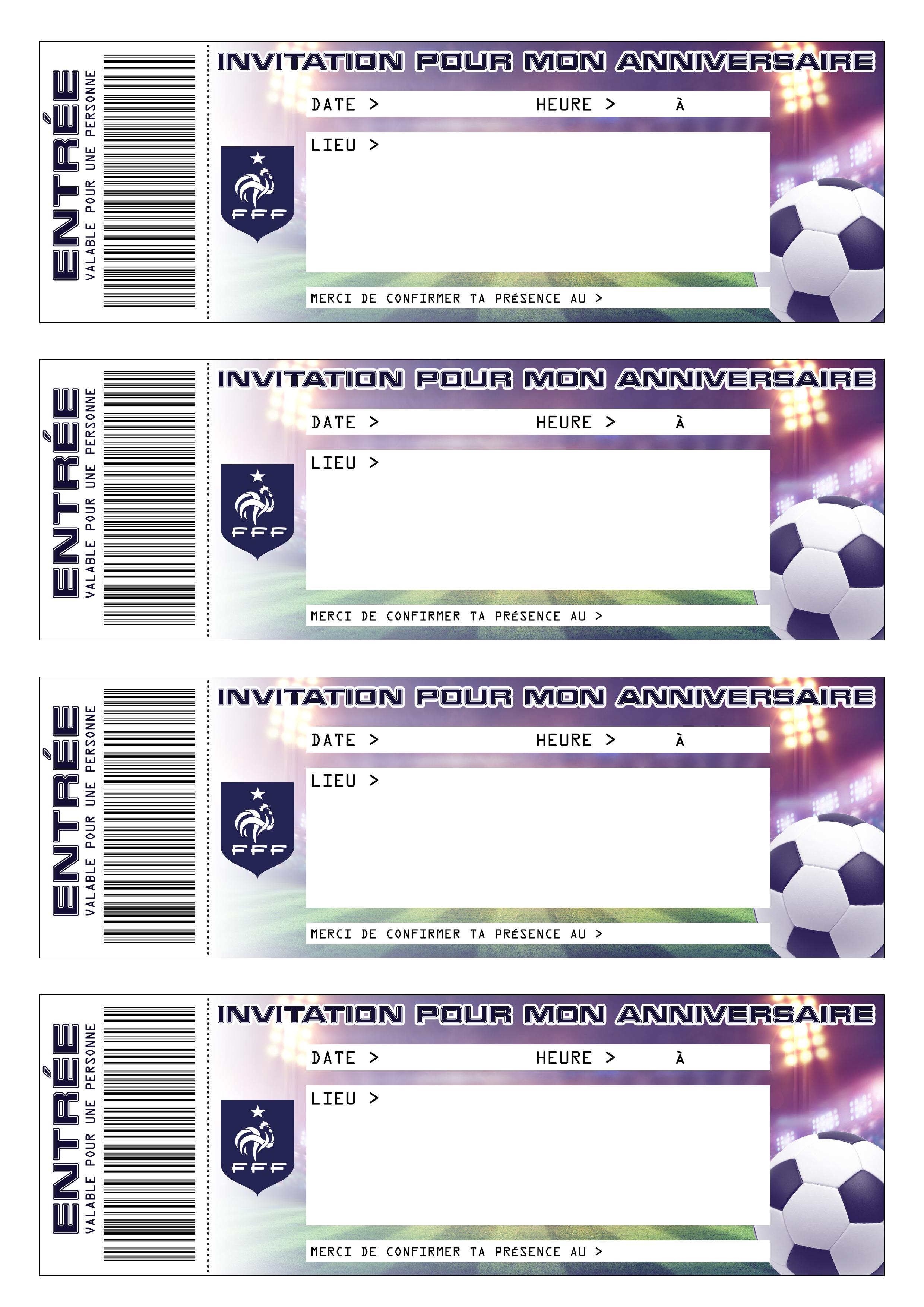 Carte Invitation Anniversaire Gratuite A Imprimer Foot Elevagequalitetouraine
