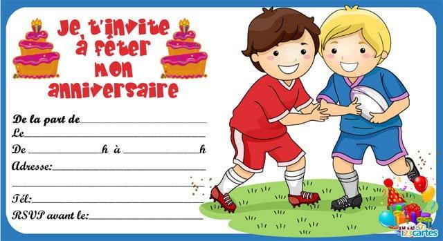 Carte anniversaire a imprimer rugby