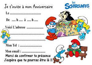 Carte d'invitation anniversaire schtroumpfs