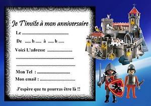 Carte d'invitation anniversaire playmobil