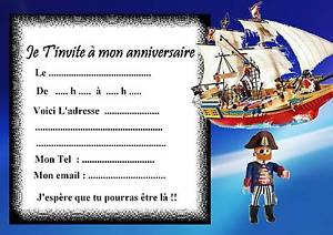 Carte invitation anniversaire playmobil fille
