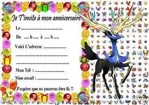 Carte d'invitation pour anniversaire pokemon