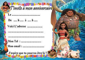Carte d'invitation anniversaire vaiana