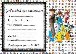 Carte invitation anniversaire pokémon