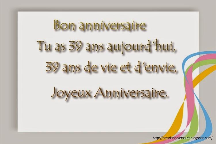 Message anniversaire 39 ans