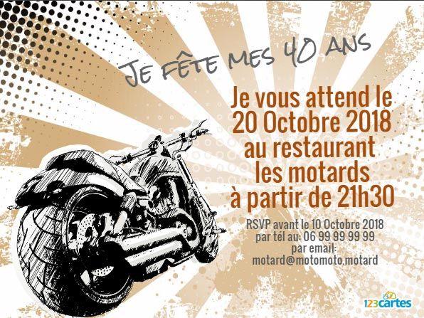 Texte invitation anniversaire moto