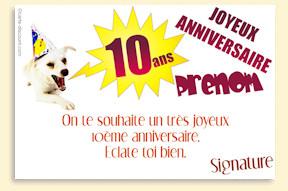 Texte pour carte anniversaire 10 ans