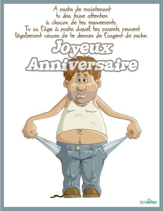carte anniversaire gratuite à imprimer humoristique Carte anniversaire gratuite à imprimer humoristique pour 18 ans