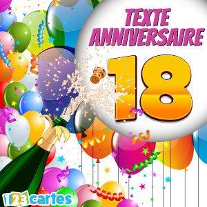 Message pour souhaiter anniversaire 18 ans