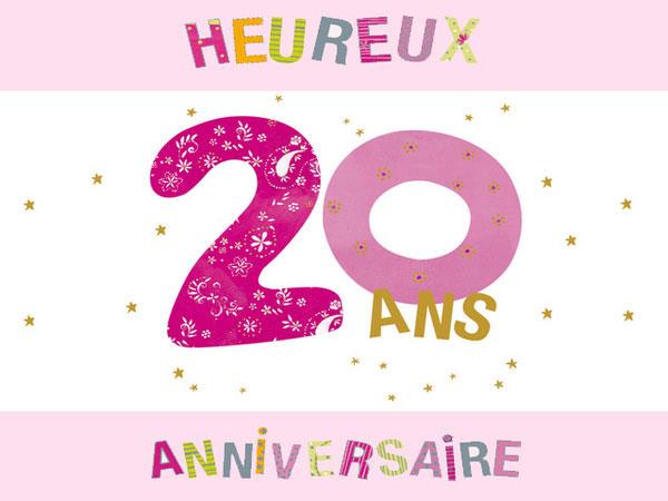Mot pour carte anniversaire 20 ans
