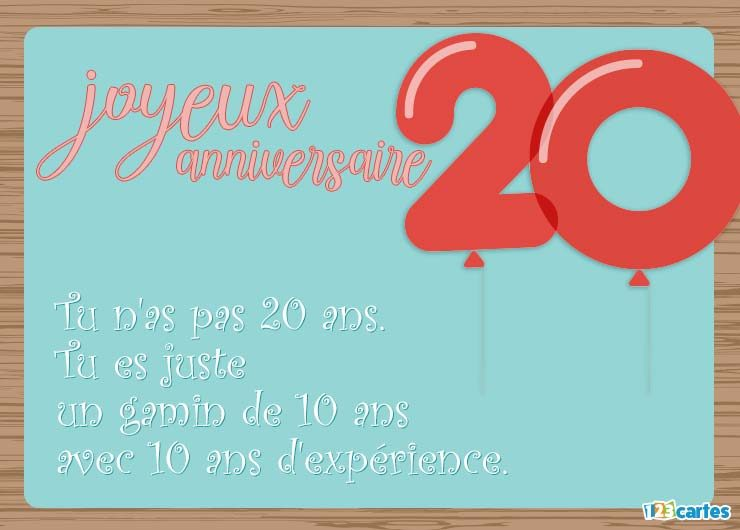 Petit mot carte anniversaire 20 ans