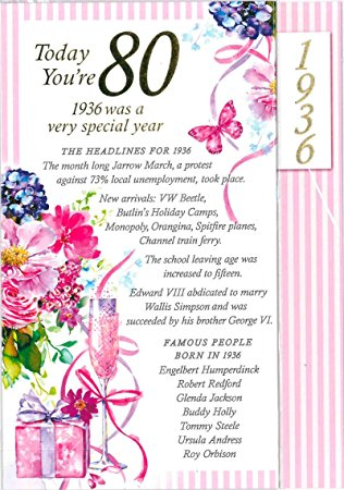 Carte anniversaire 80 ans femme texte