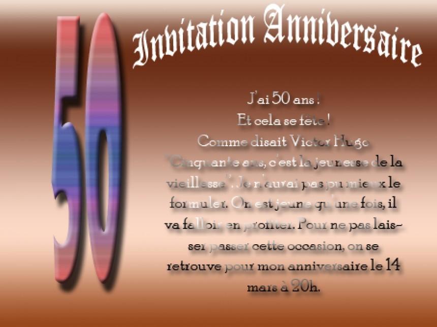Modele Texte Invitation Anniversaire 50 Ans Elevagequalitetouraine