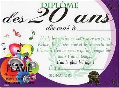 Carte anniversaire 20 ans à imprimer gratuitement