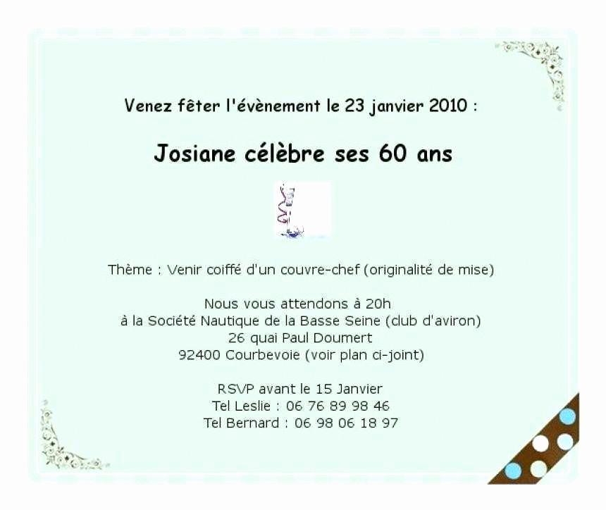 Modele texte d'invitation anniversaire 60 ans