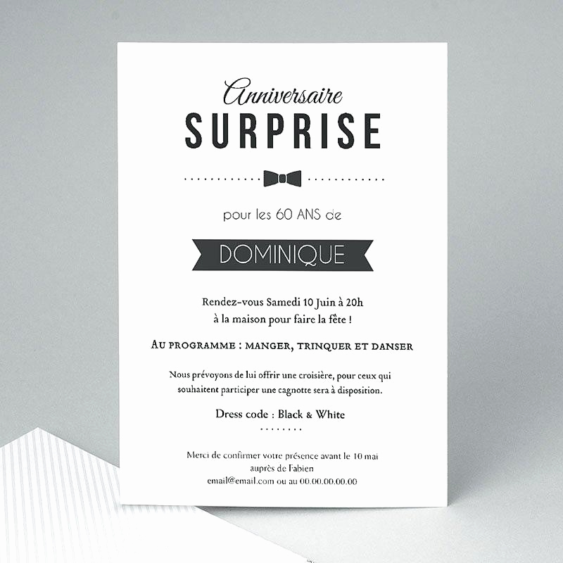 Texte carte invitation anniversaire surprise