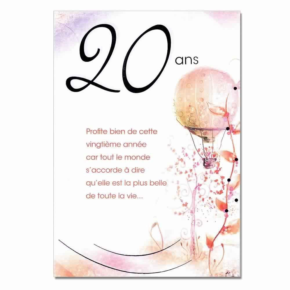 Formule carte anniversaire 20 ans