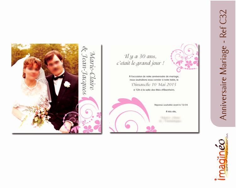 Carte invitation anniversaire 30 ans mariage