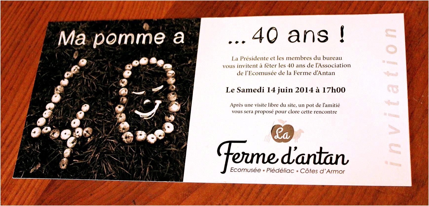 Carte invitation anniversaire 40