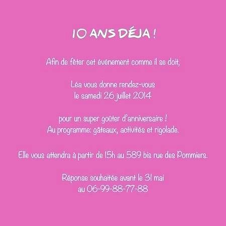 Texte Invitation Anniversaire Fille 10 Ans Elevagequalitetouraine