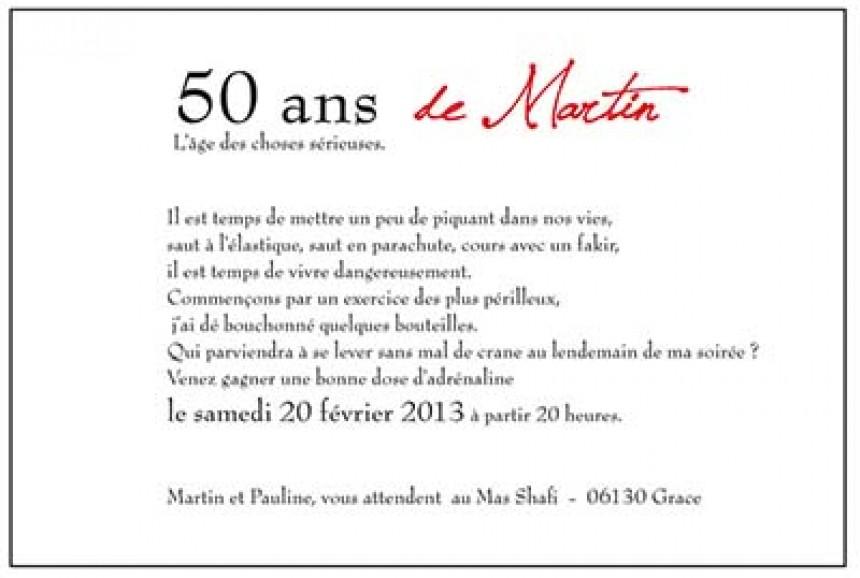 Message carte anniversaire 50 ans
