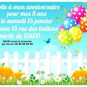 Texte invitation anniversaire garcon 8 ans