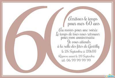 Texte invitation anniversaire 60 ans et retraite