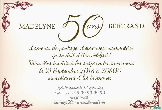 Anniversaire 50 ans mariage texte