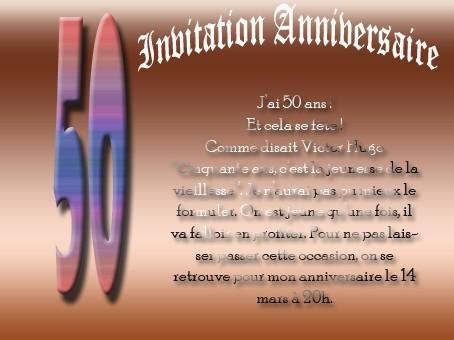 Texte drole pour invitation anniversaire 50 ans