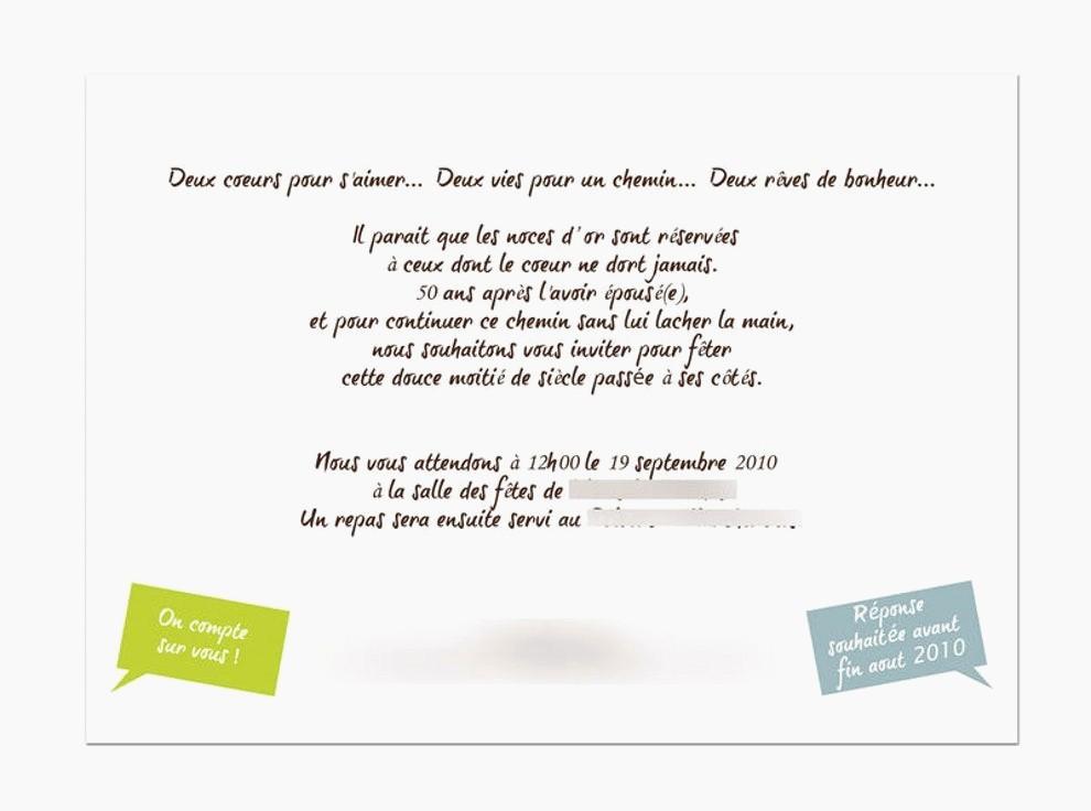 Texte invitation anniversaire mariage 50 ans