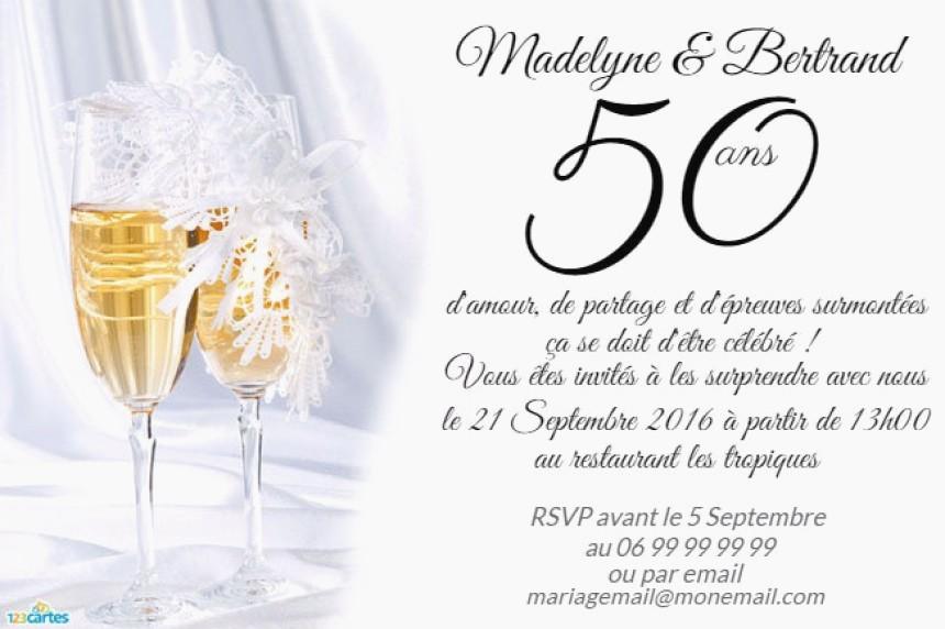 Texte pour carte anniversaire 50 ans mariage