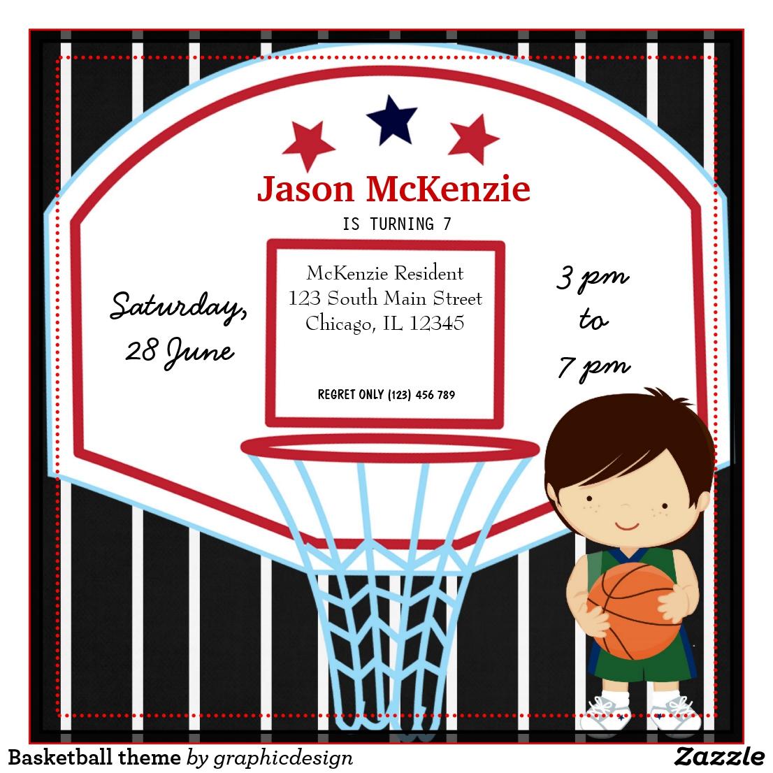Carte d'invitation anniversaire de basket