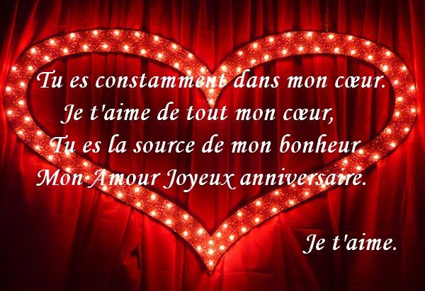 Texte romantique anniversaire femme