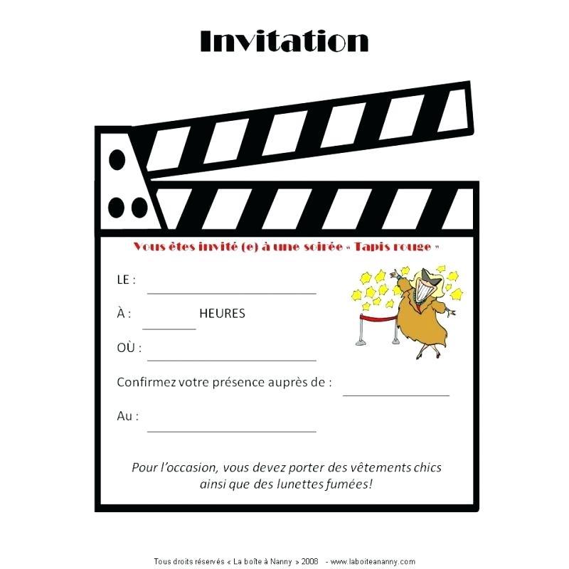 Carte invitation anniversaire thème cinéma