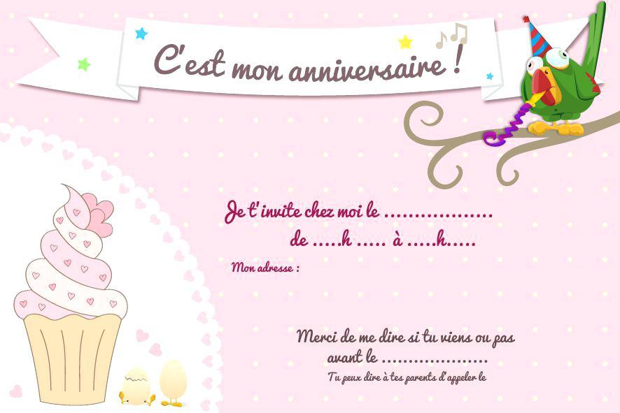 Carte d'invitation anniversaire ado fille gratuit