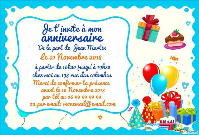 Carte anniversaire texte pour enfant