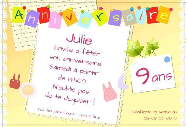 Texte carte d'invitation anniversaire 6 ans