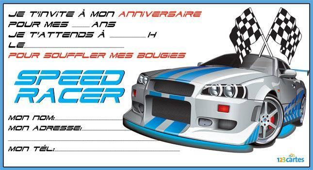 Carte anniversaire à imprimer voiture