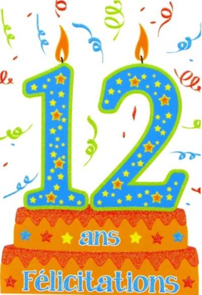 Carte anniversaire 12 ans