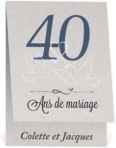 Carte pour anniversaire de mariage 40 ans