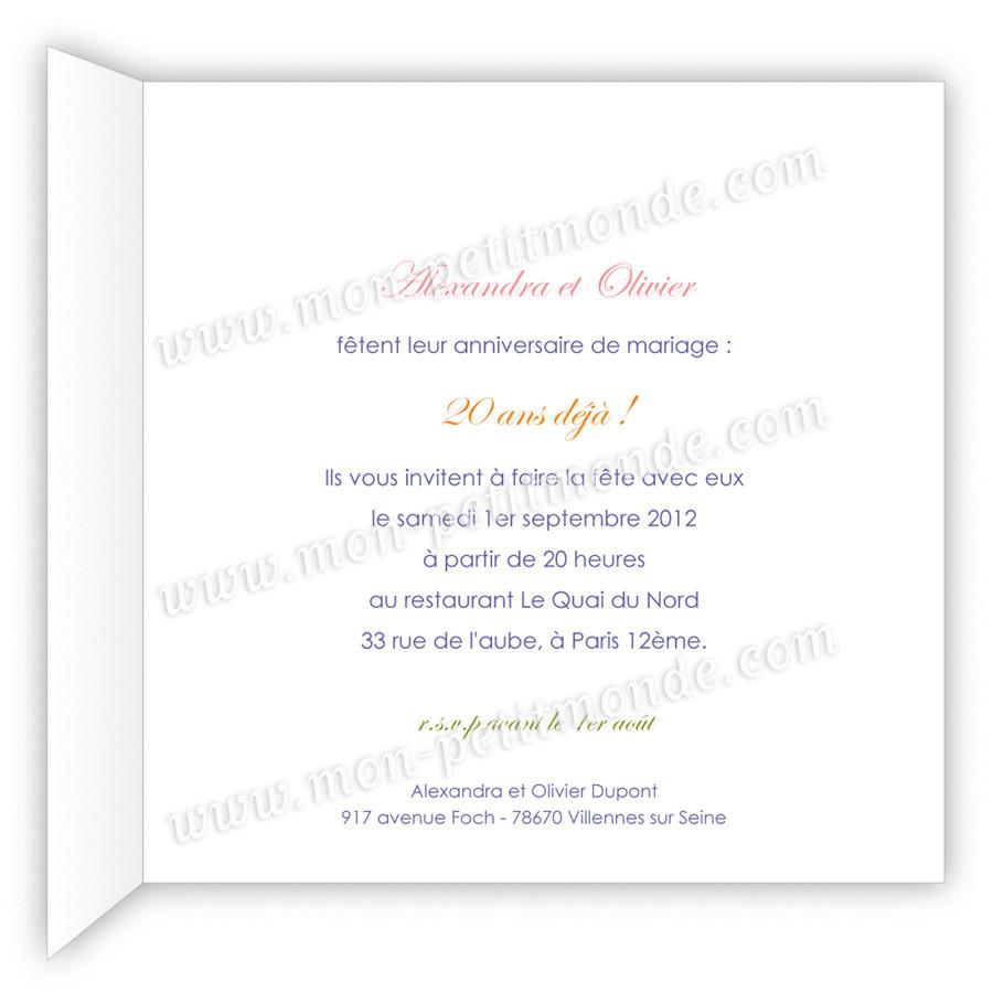 Message anniversaire 20 ans de mariage