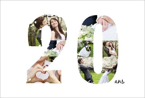 Carte d'invitation anniversaire de mariage 20 ans - Elevagequalitetouraine