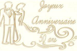 Carte anniversaire 50 ans de mariage à imprimer