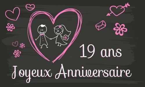 Carte anniversaire de mariage 19 ans