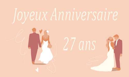 Carte anniversaire de mariage 27 ans