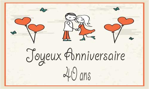 Carte anniversaire de mariage 40 ans humoristique