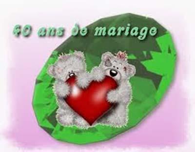 Cartes anniversaire de mariage 40 ans à imprimer