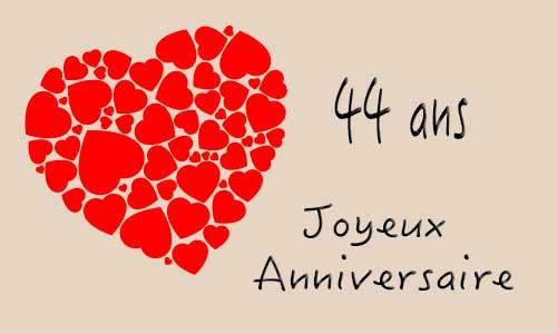 Carte anniversaire de mariage 44 ans